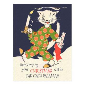 Carte Postale L'espérance de votre Noël sera les pyjamas du chat