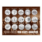 Carte Postale L'état des Etats-Unis divise (des pièces de