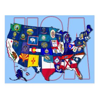 Carte Postale L'état marque le drapeau des Etats-Unis Etats-Unis