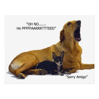 Carte Postale L'étiquette est de blâmer le chien