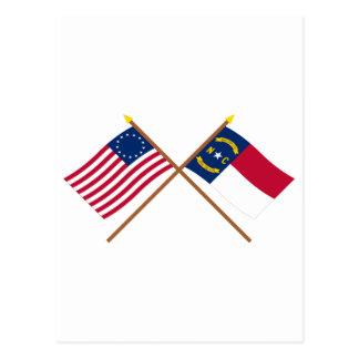 Carte Postale L'étoile croisée et la Caroline du Nord des USA 13