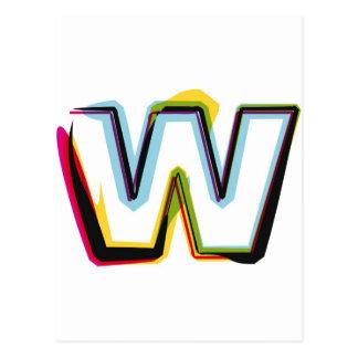 Carte Postale Lettre abstraite et colorée W