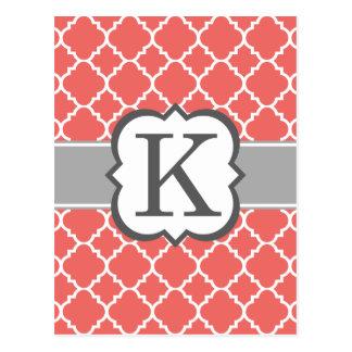 Carte Postale Lettre blanche de corail K Quatrefoil de