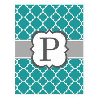 Carte Postale Lettre bleue turquoise P Quatrefoil de monogramme