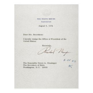 Carte Postale Lettre de démission de Richard M. Nixon 1974