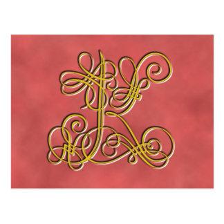 Carte Postale Lettre de fantaisie K, couleur de monogramme de