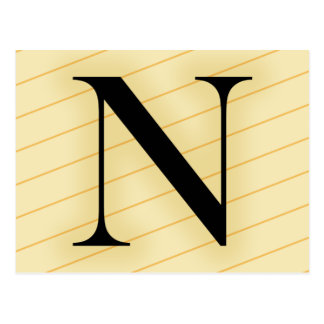 Carte Postale Lettre de monogramme - N (orange)