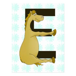 Carte Postale Lettre E de monogramme de poney personnalisée