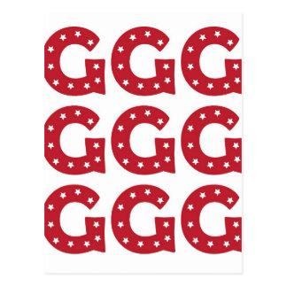 Carte Postale Lettre G - Étoiles de blanc sur rouge foncé