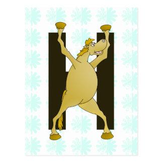 Carte Postale Lettre H de monogramme de poney personnalisée