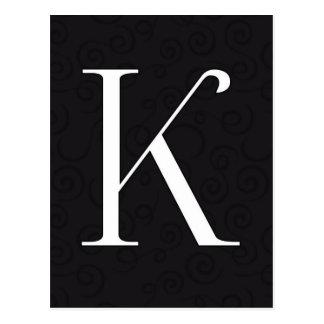 Carte Postale Lettre K de monogramme