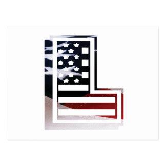 Carte Postale Lettre L drapeau patriotique des Etats-Unis