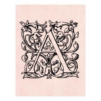 Carte Postale Lettre vintage un rose rose décoré d'un monogramme
