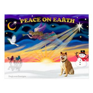 Carte Postale Lever de soleil de Noël - Shiba Inu 3