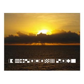 """Carte Postale Lever de soleil """"une vie de croisière"""" écrite dans"""