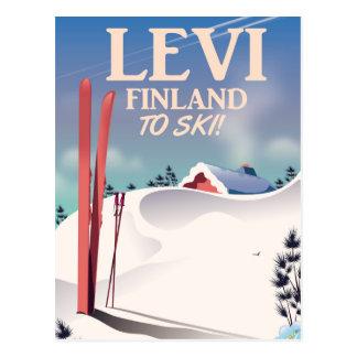 Carte Postale Lévi, affiche de voyage de ski de la Finlande
