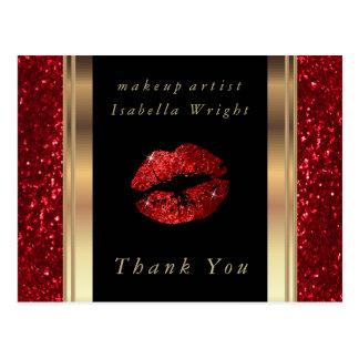 Carte Postale Lèvres rouges de scintillement - Merci
