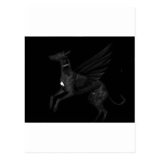 Carte Postale Lévrier noir d'ange