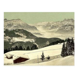 Carte Postale Leysin, vue de la vallée du Rhône en hiver,