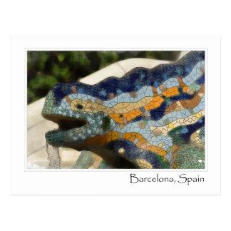 Carte Postale Lézard de mosaïque de Barcelone Espagne Parc Guell
