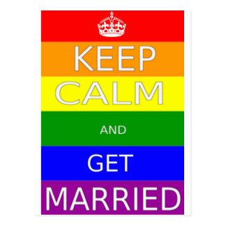 Carte Postale LGBT - Le mariage homosexuel gardent le calme et