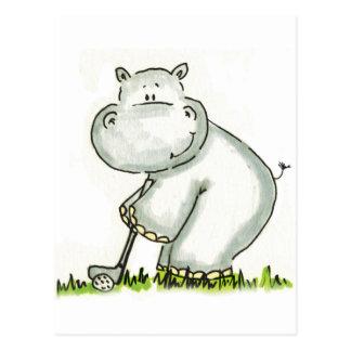 Carte Postale L'hippopotame joue au golf