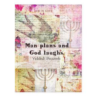 Carte Postale L'homme prévoit et Dieu rit le PROVERBE YIDDISH