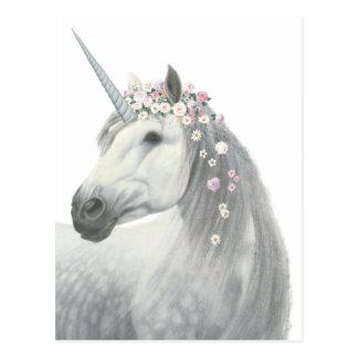 Carte Postale Licorne d'esprit avec des fleurs dans la crinière