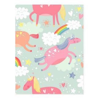 Carte Postale Licornes et arc-en-ciel