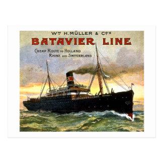 Carte Postale Ligne de Batavier - voyage vintage