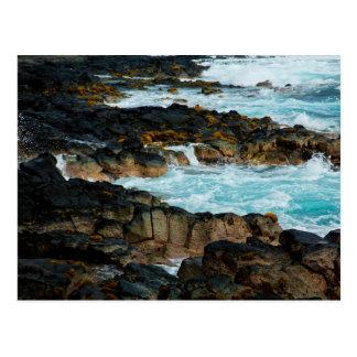 Carte Postale Ligne hawaïenne vagues de côte d'océan de lave