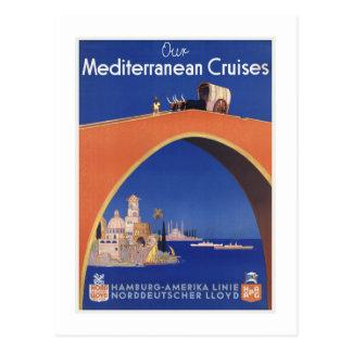 Carte Postale Ligne méditerranéenne voyage vintage de bateau de
