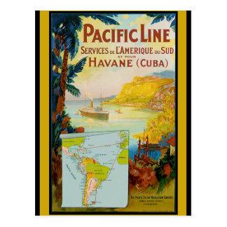 Carte Postale Ligne Pacifique voyage vintage