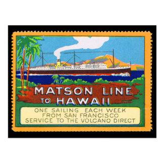 Carte Postale Lignes de Matson timbre d'affiche circa 1915