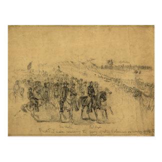 Carte Postale Lincoln passant en revue l'armée avril 1863