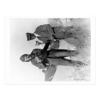 Carte Postale Lindbergh et Wright avec l'avion détruit