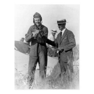 Carte Postale Lindbergh et Wright - avion détruit