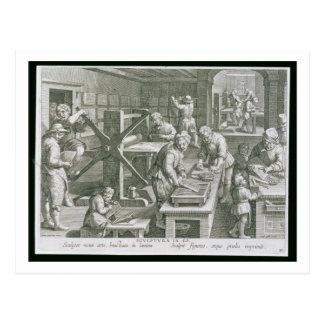 Carte Postale L'invention de la gravure de cuivre, plaquent 20