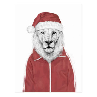 Carte Postale Lion de Père Noël