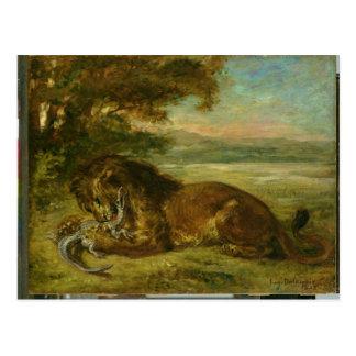 Carte Postale Lion et alligator, 1863