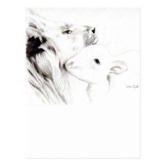 Carte Postale Lion et l'agneau