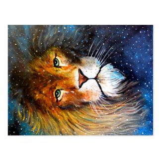 Carte Postale Lion, le lion d'étoile