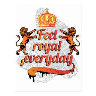 Carte Postale Lion quotidien royal de couronne de sensation de