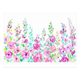Carte Postale Lit floral abstrait d'aquarelle