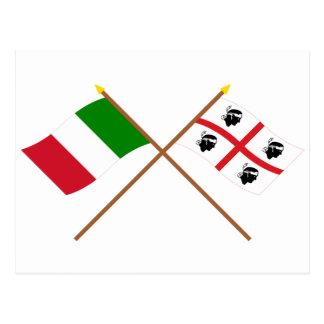 Carte Postale L'Italie et les drapeaux croisés par Sardegna