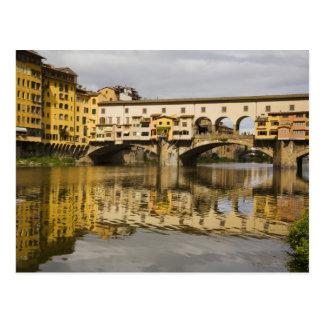 Carte Postale L'Italie, Florence, réflexions dans le fleuve Arno