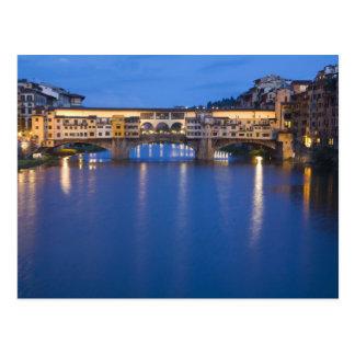 Carte Postale L'Italie, Florence, réflexions de nuit dans