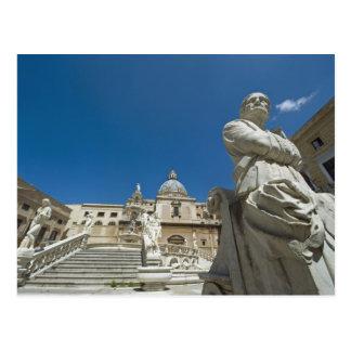Carte Postale L'Italie, Sicile, Palerme, fontaine avec le buste