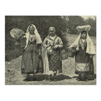 Carte Postale L'Italie vintage, Sicile, costume traditionnel