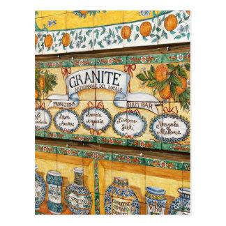 Carte Postale L'Italie vintage, Sicile, signe carrelé de magasin